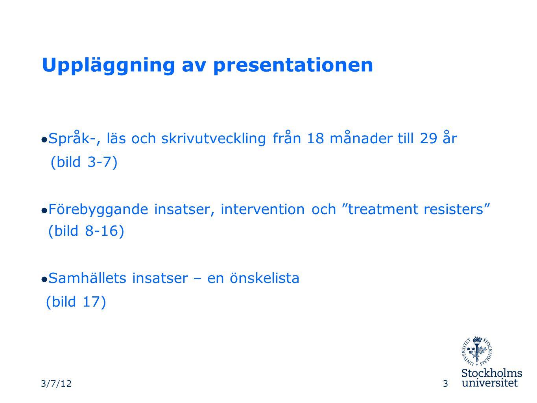 """Uppläggning av presentationen ● Språk-, läs och skrivutveckling från 18 månader till 29 år (bild 3-7) ● Förebyggande insatser, intervention och """"treat"""