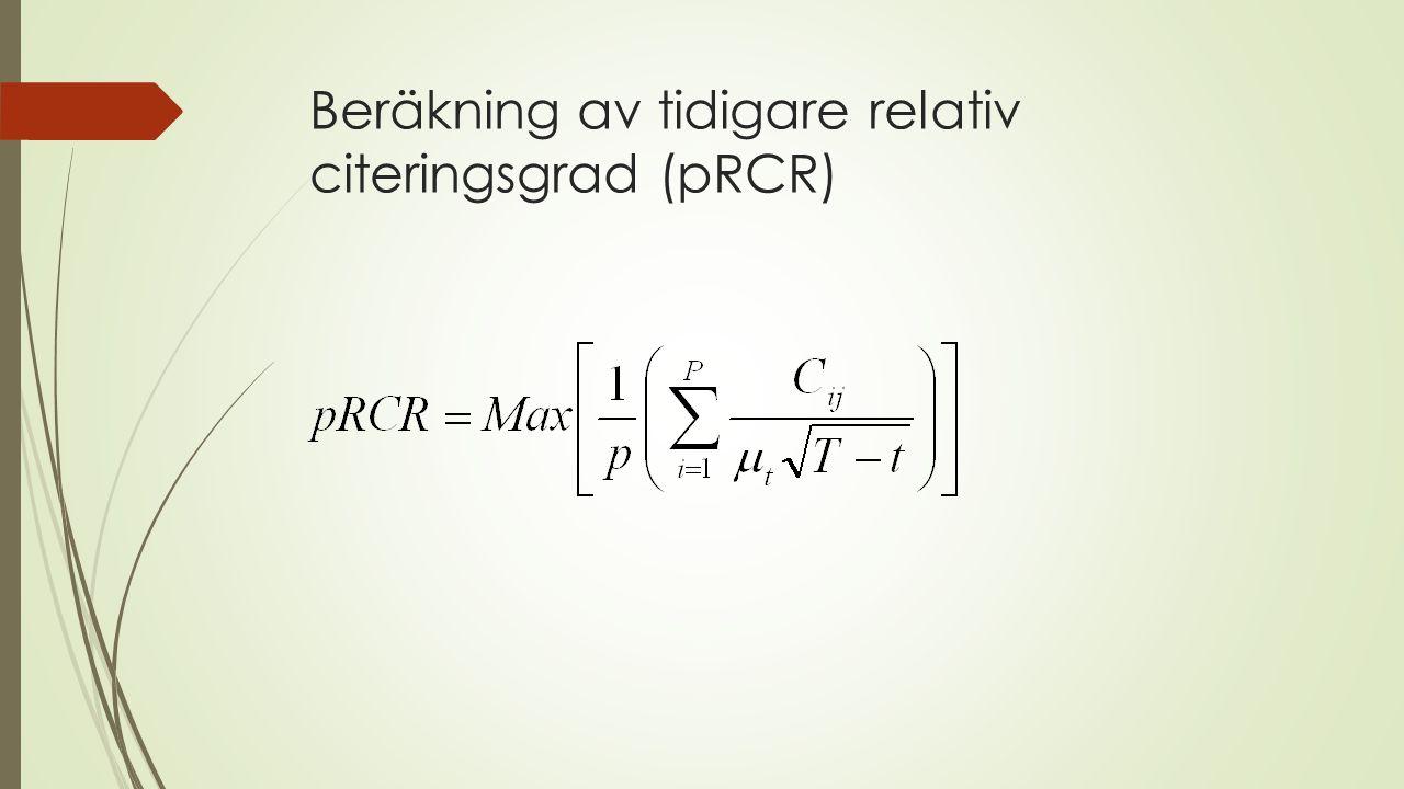 Beräkning av tidigare relativ citeringsgrad (pRCR)