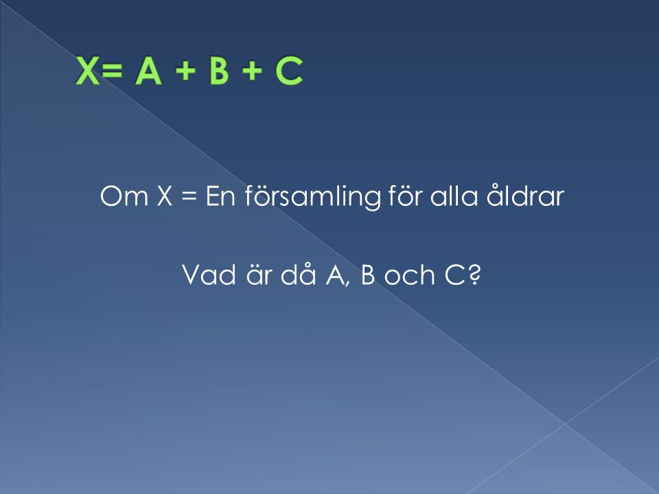 Om X = En församling för alla åldrar Vad är då A, B och C?
