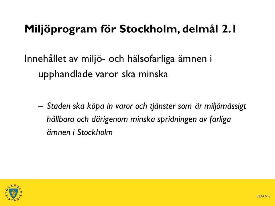 Miljöprogram för Stockholm, delmål 2.1 Innehållet av miljö- och hälsofarliga ämnen i upphandlade varor ska minska – Staden ska köpa in varor och tjänster som är miljömässigt hållbara och därigenom minska spridningen av farliga ämnen i Stockholm SIDAN 2
