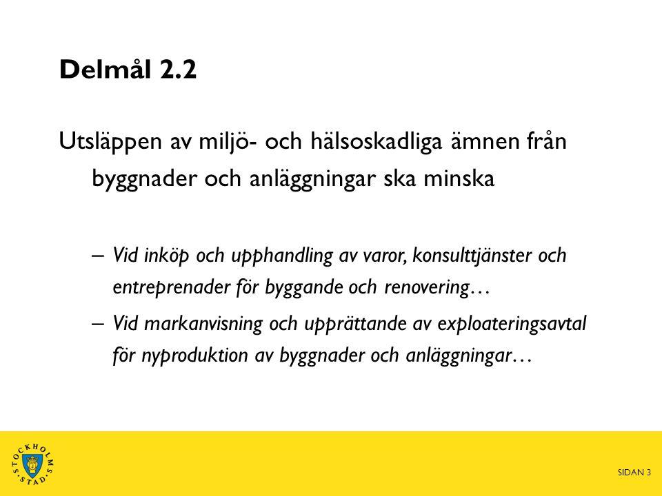 Delmål 2.4 Spridningen av miljö- och hälsofarliga ämnen från hushåll, handel, byggande och andra aktörer i Stockholm ska minska – Staden ska samverka med aktörer inom handeln, byggsektorn och andra branscher… – Staden ska genom informationsinsatser bidra till att kunskapsnivån hos allmänheten ökar… SIDAN 4
