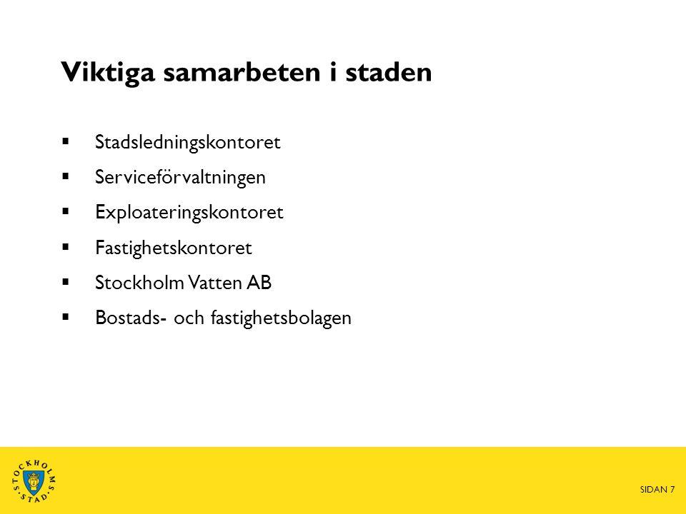 Viktiga samarbeten i staden  Stadsledningskontoret  Serviceförvaltningen  Exploateringskontoret  Fastighetskontoret  Stockholm Vatten AB  Bostads- och fastighetsbolagen SIDAN 7