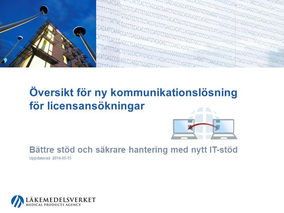 Översikt för ny kommunikationslösning för licensansökningar Bättre stöd och säkrare hantering med nytt IT-stöd Uppdaterad 2014-05-15