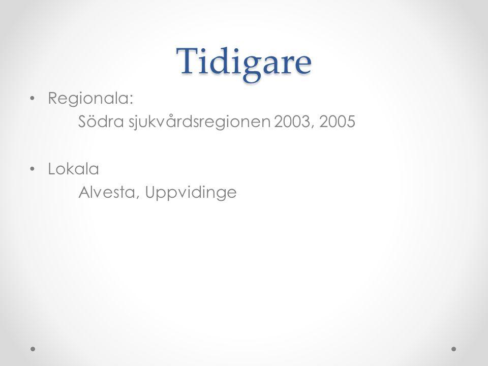 Tidigare • Regionala: Södra sjukvårdsregionen 2003, 2005 • Lokala Alvesta, Uppvidinge