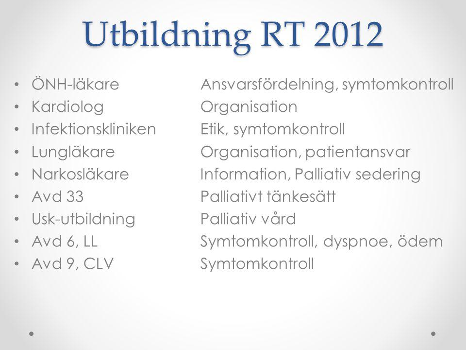 Utbildning RT 2012 • ÖNH-läkareAnsvarsfördelning, symtomkontroll • KardiologOrganisation • InfektionsklinikenEtik, symtomkontroll • LungläkareOrganisa