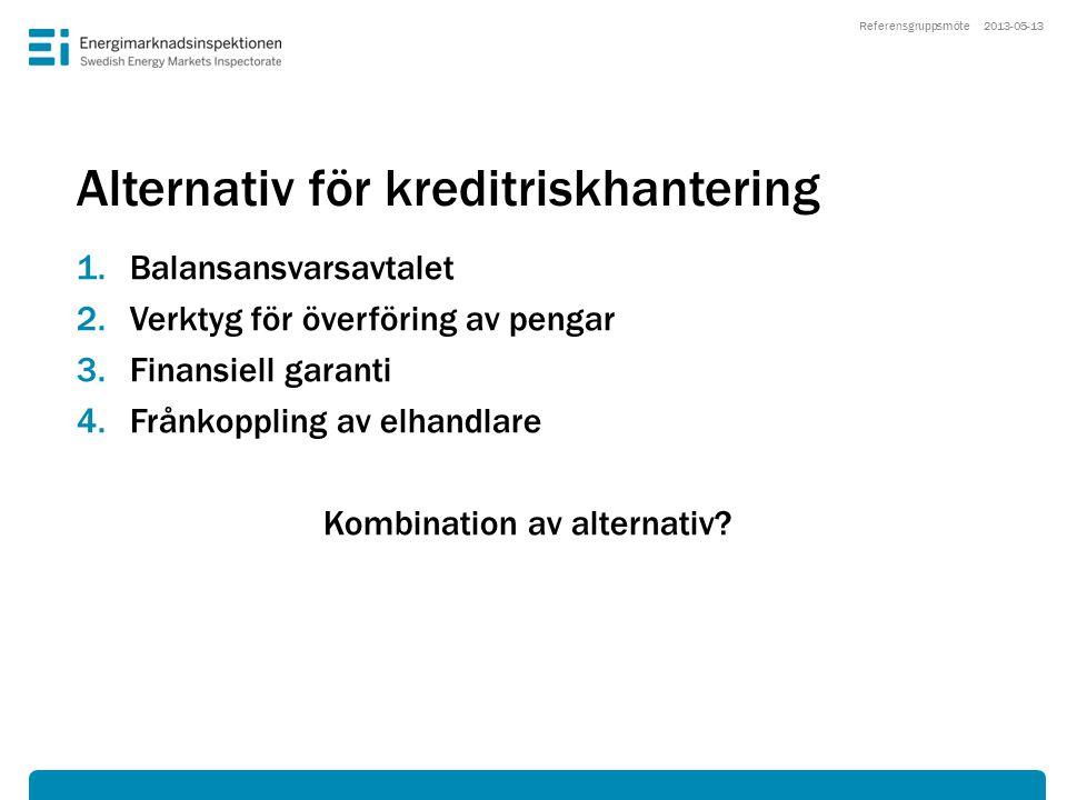Alternativ för kreditriskhantering 1.Balansansvarsavtalet 2.Verktyg för överföring av pengar 3.Finansiell garanti 4.Frånkoppling av elhandlare Kombina