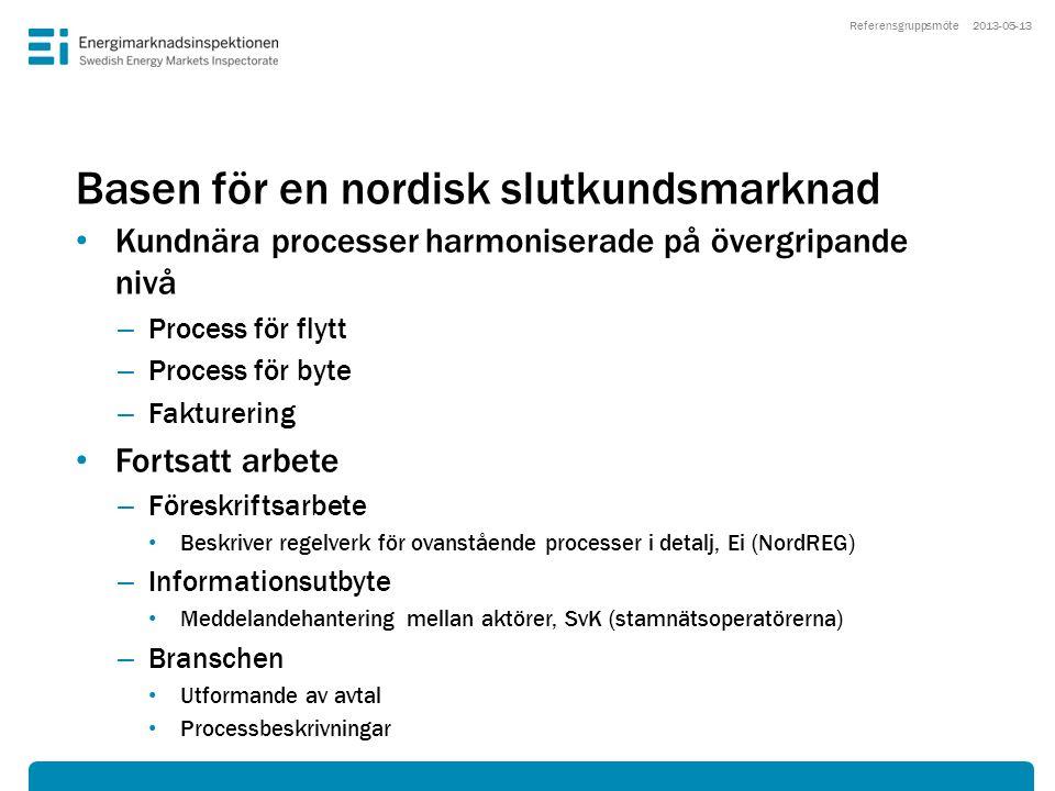 Basen för en nordisk slutkundsmarknad • Kundnära processer harmoniserade på övergripande nivå – Process för flytt – Process för byte – Fakturering • F