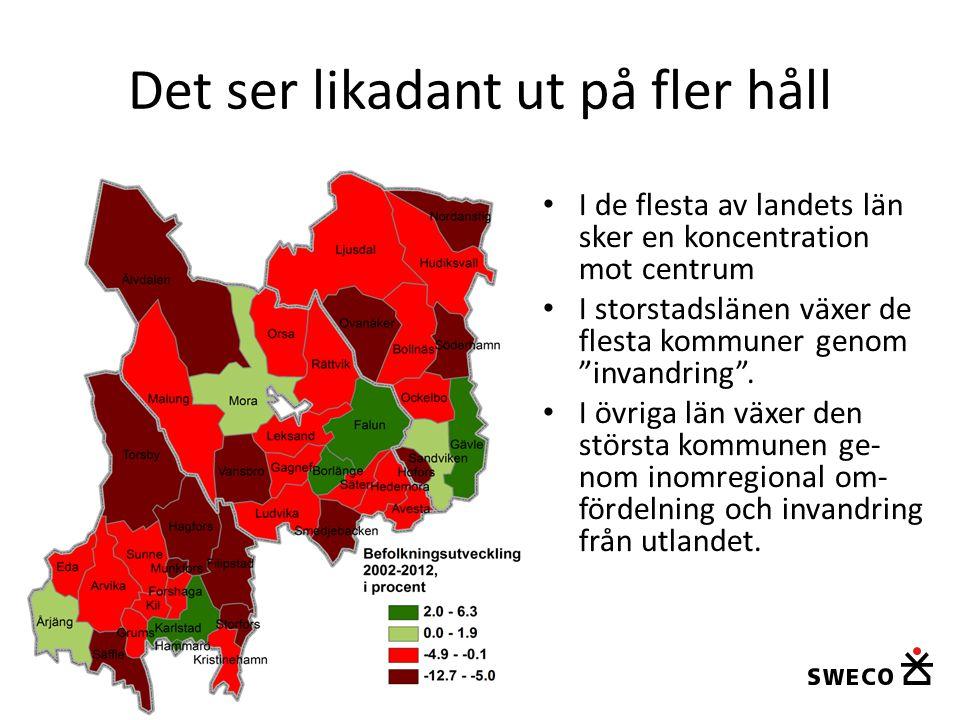 """Det ser likadant ut på fler håll • I de flesta av landets län sker en koncentration mot centrum • I storstadslänen växer de flesta kommuner genom """"inv"""