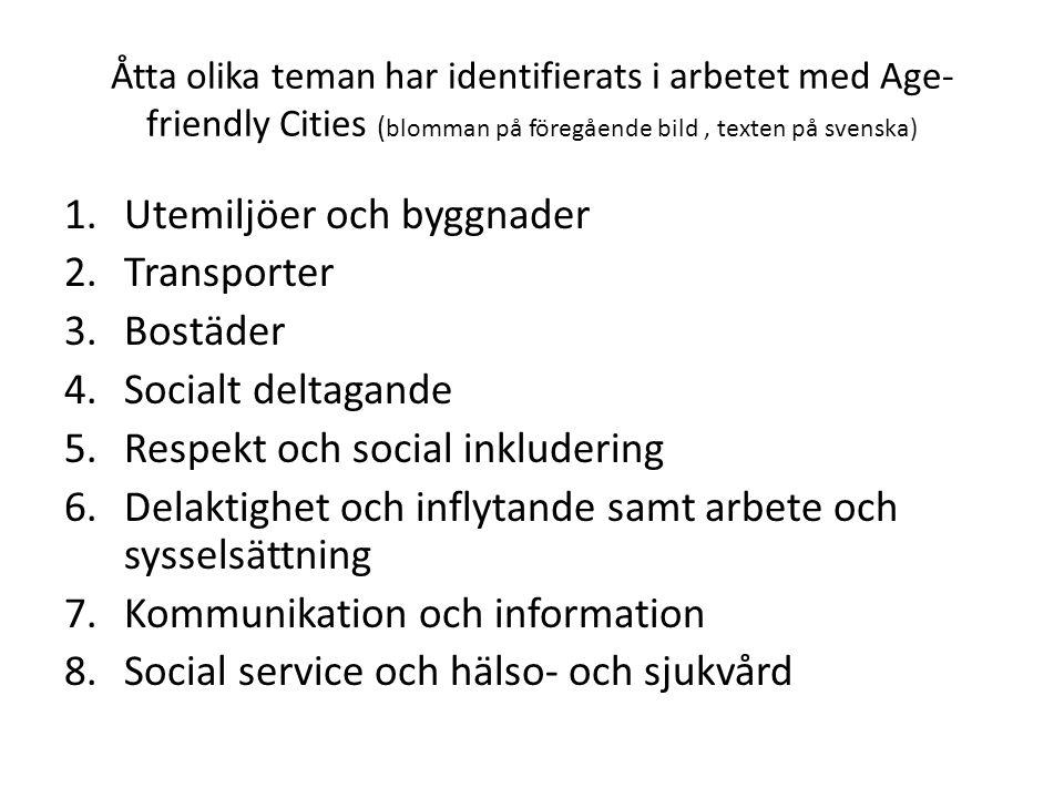 Åtta olika teman har identifierats i arbetet med Age- friendly Cities ( blomman på föregående bild, texten på svenska) 1.Utemiljöer och byggnader 2.Tr