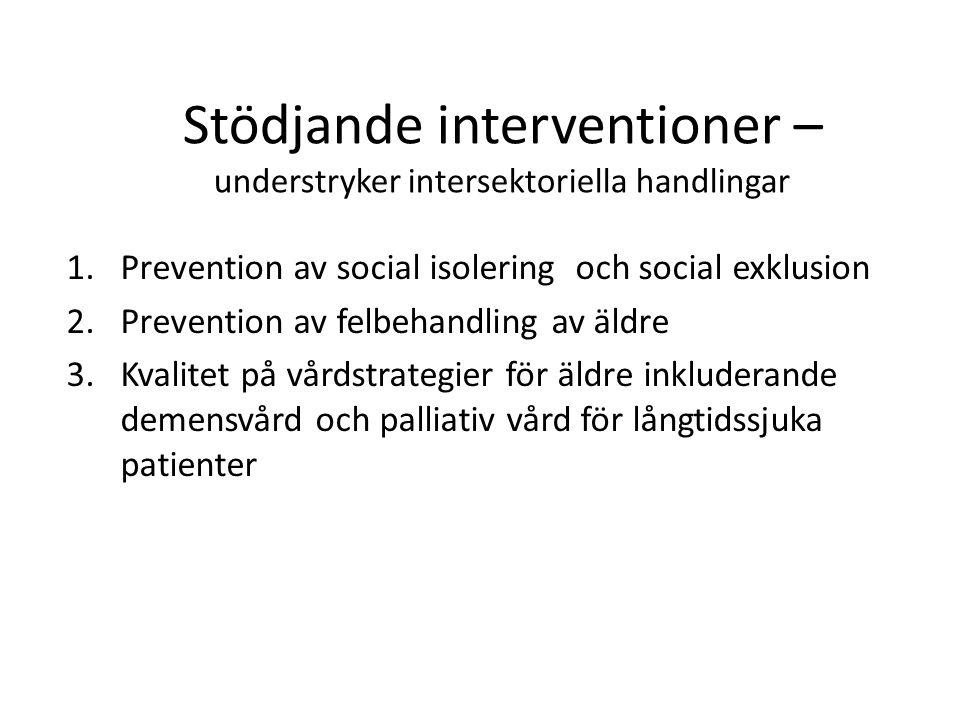 Stödjande interventioner – understryker intersektoriella handlingar 1.Prevention av social isolering och social exklusion 2.Prevention av felbehandlin