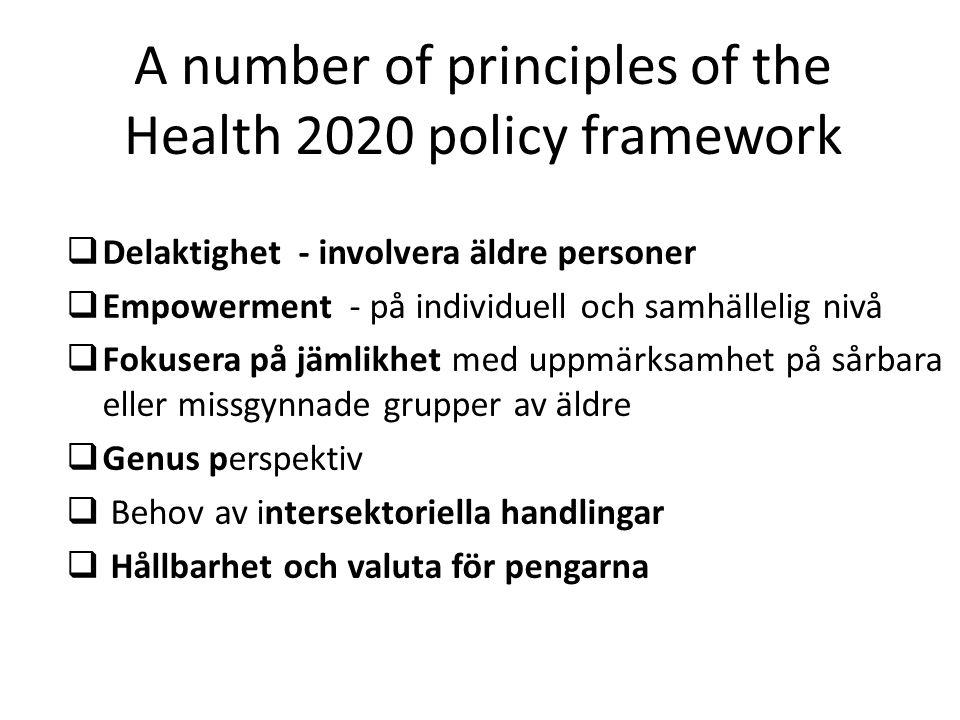 A number of principles of the Health 2020 policy framework  Delaktighet - involvera äldre personer  Empowerment - på individuell och samhällelig niv