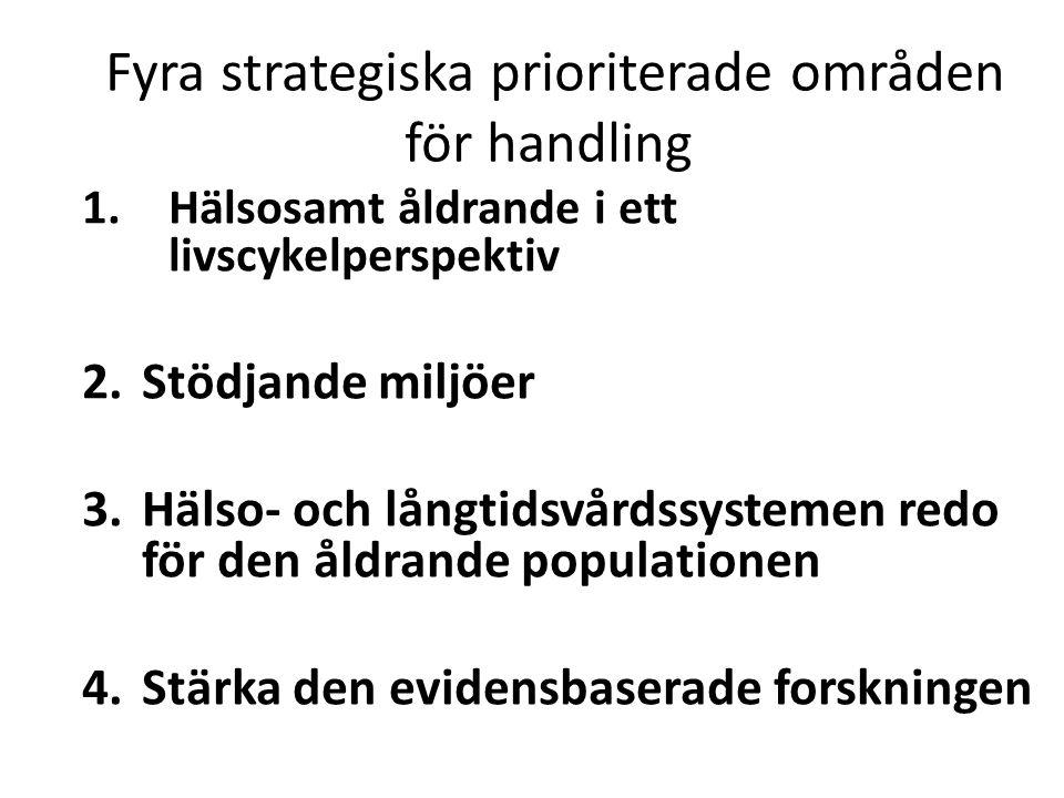 Fyra strategiska prioriterade områden för handling 1.Hälsosamt åldrande i ett livscykelperspektiv 2.Stödjande miljöer 3.Hälso- och långtidsvårdssystem