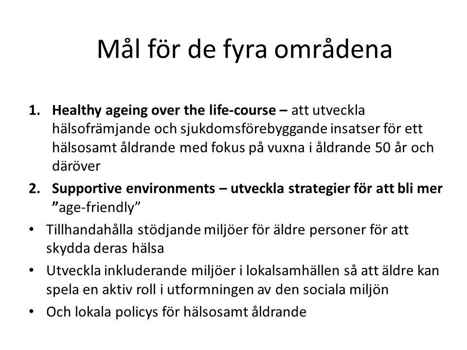 Mål för de fyra områdena 1.Healthy ageing over the life-course – att utveckla hälsofrämjande och sjukdomsförebyggande insatser för ett hälsosamt åldra