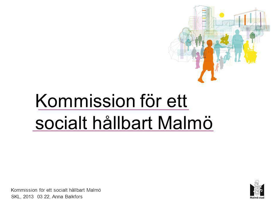 Kommission för ett socialt hållbart Malmö Direktiv •Beslut i kommunstyrelsen 9 november 2010 •Politisk oberoende kommission •Utarbeta vetenskapligt underbyggda förslag till strategier för hur man kan minska ojämlikhet i hälsa i Malmö.