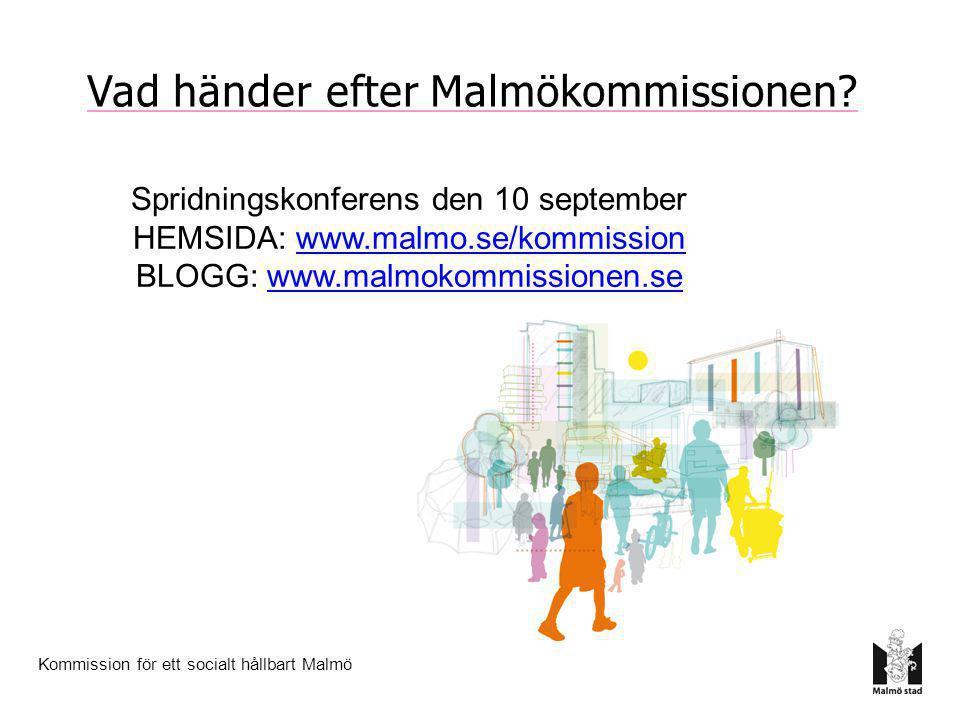 Kommission för ett socialt hållbart Malmö Spridningskonferens den 10 september HEMSIDA: www.malmo.se/kommissionwww.malmo.se/kommission BLOGG: www.malm