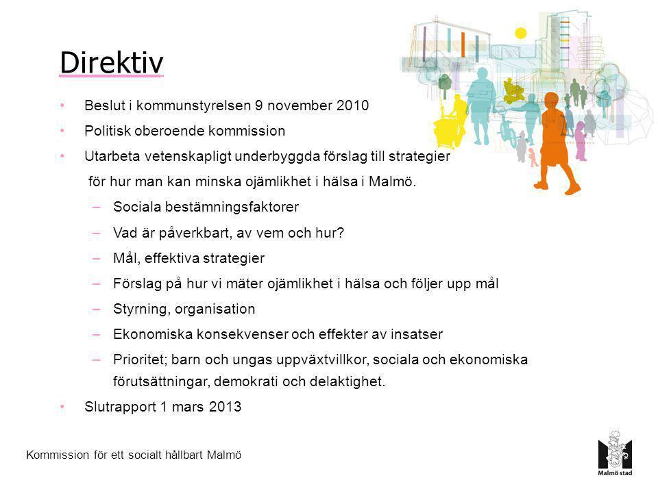 Kommission för ett socialt hållbart Malmö Direktiv •Beslut i kommunstyrelsen 9 november 2010 •Politisk oberoende kommission •Utarbeta vetenskapligt un