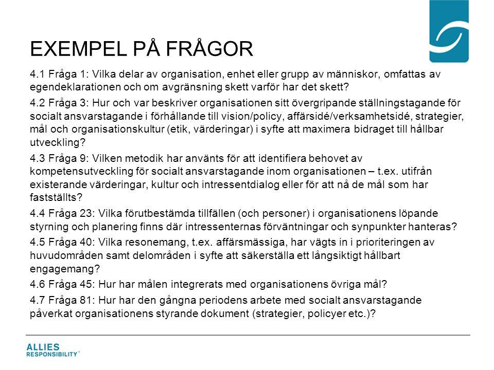 EXEMPEL PÅ FRÅGOR 4.1 Fråga 1: Vilka delar av organisation, enhet eller grupp av människor, omfattas av egendeklarationen och om avgränsning skett var