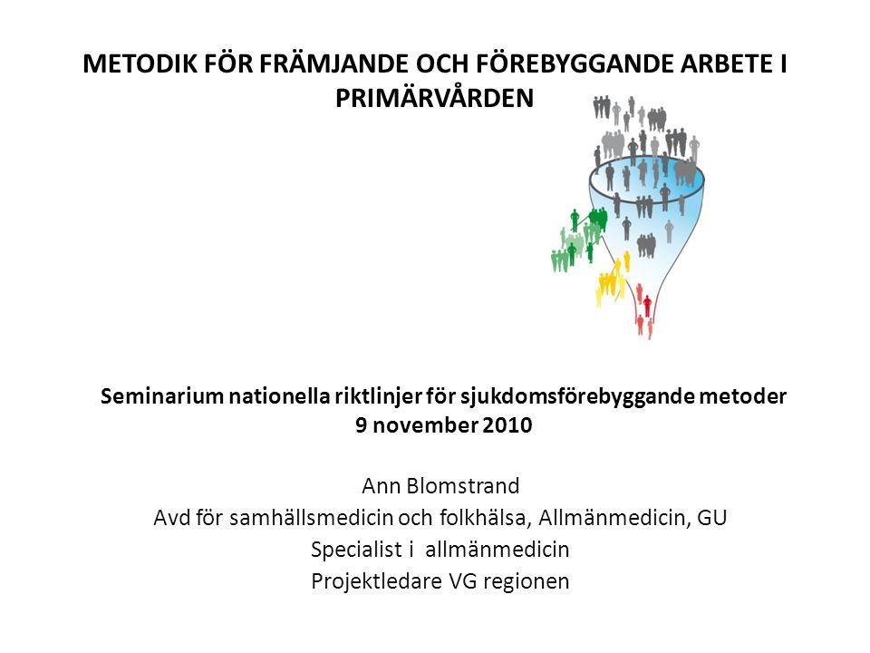 Seminarium nationella riktlinjer för sjukdomsförebyggande metoder 9 november 2010 Ann Blomstrand Avd för samhällsmedicin och folkhälsa, Allmänmedicin,