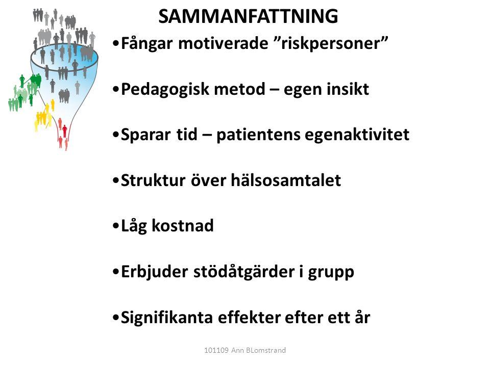 """SAMMANFATTNING •Fångar motiverade """"riskpersoner"""" •Pedagogisk metod – egen insikt •Sparar tid – patientens egenaktivitet •Struktur över hälsosamtalet •"""