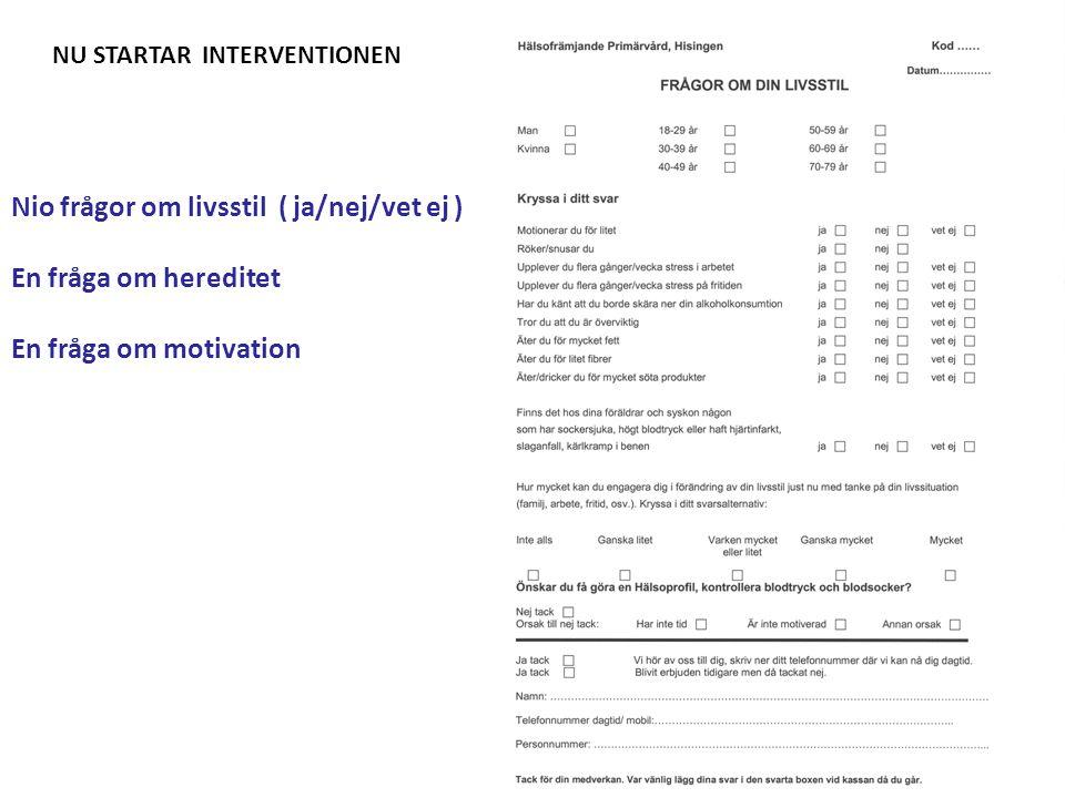 Nio frågor om livsstil ( ja/nej/vet ej ) En fråga om hereditet En fråga om motivation NU STARTAR INTERVENTIONEN
