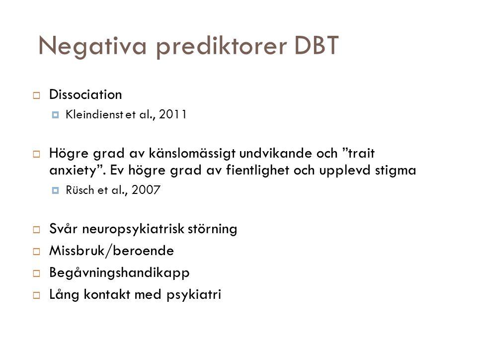 Negativa prediktorer DBT  Dissociation  Kleindienst et al., 2011  Högre grad av känslomässigt undvikande och trait anxiety .