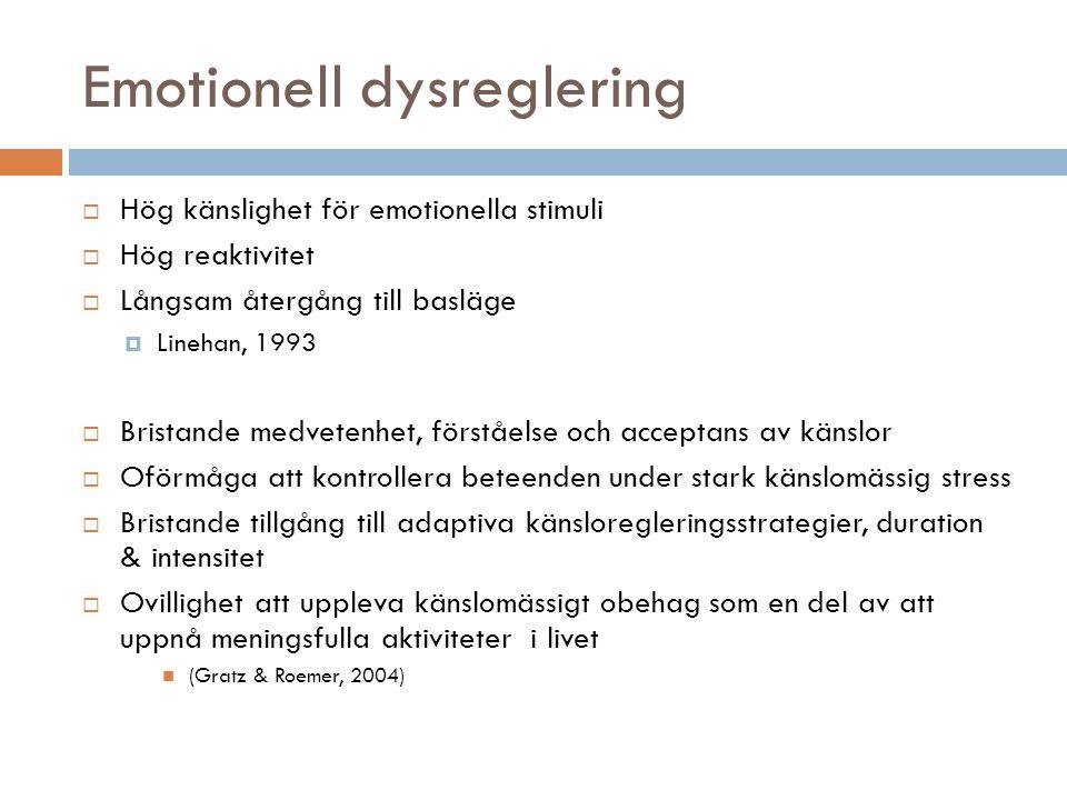 Emotionell dysreglering  Hög känslighet för emotionella stimuli  Hög reaktivitet  Långsam återgång till basläge  Linehan, 1993  Bristande medvetenhet, förståelse och acceptans av känslor  Oförmåga att kontrollera beteenden under stark känslomässig stress  Bristande tillgång till adaptiva känsloregleringsstrategier, duration & intensitet  Ovillighet att uppleva känslomässigt obehag som en del av att uppnå meningsfulla aktiviteter i livet  (Gratz & Roemer, 2004)