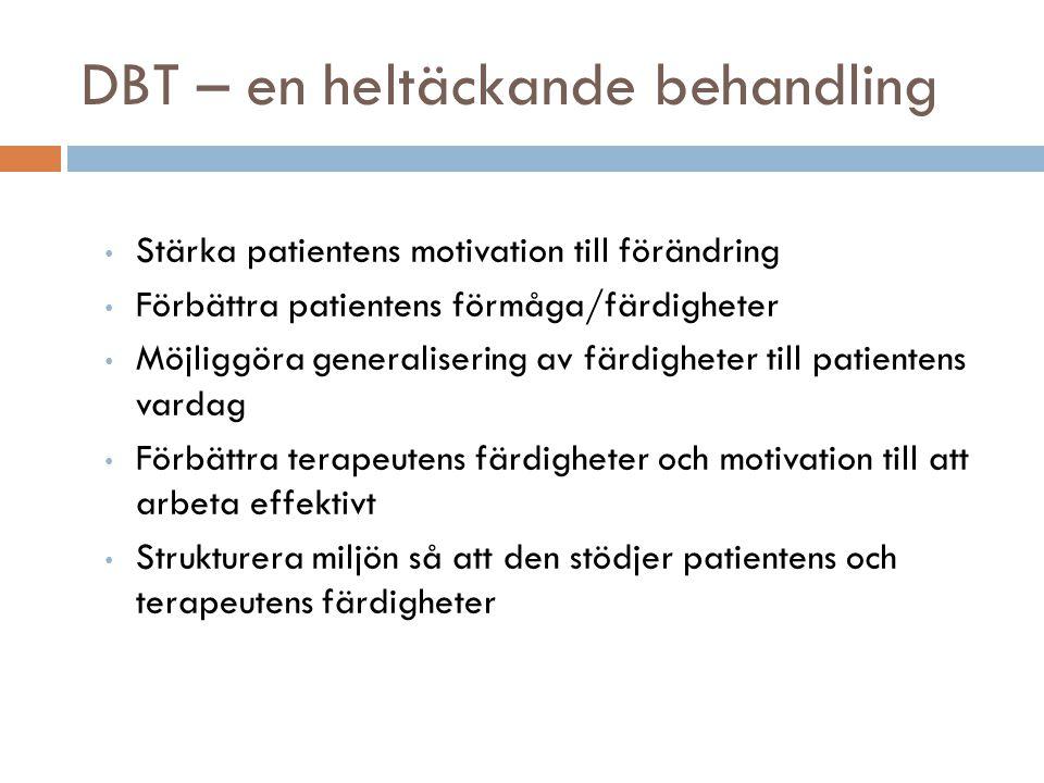 DBT – en heltäckande behandling • Stärka patientens motivation till förändring • Förbättra patientens förmåga/färdigheter • Möjliggöra generalisering av färdigheter till patientens vardag • Förbättra terapeutens färdigheter och motivation till att arbeta effektivt • Strukturera miljön så att den stödjer patientens och terapeutens färdigheter