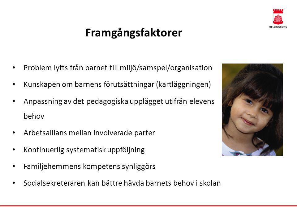 Framgångsfaktorer • Problem lyfts från barnet till miljö/samspel/organisation • Kunskapen om barnens förutsättningar (kartläggningen) • Anpassning av