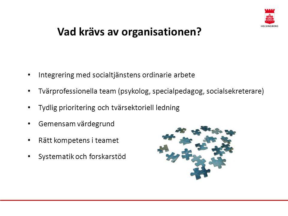 Vad krävs av organisationen? • Integrering med socialtjänstens ordinarie arbete • Tvärprofessionella team (psykolog, specialpedagog, socialsekreterare