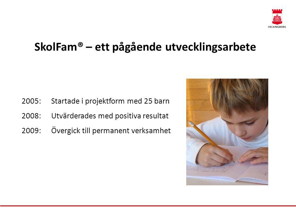 SkolFam® – ett pågående utvecklingsarbete 2005:Startade i projektform med 25 barn 2008:Utvärderades med positiva resultat 2009:Övergick till permanent