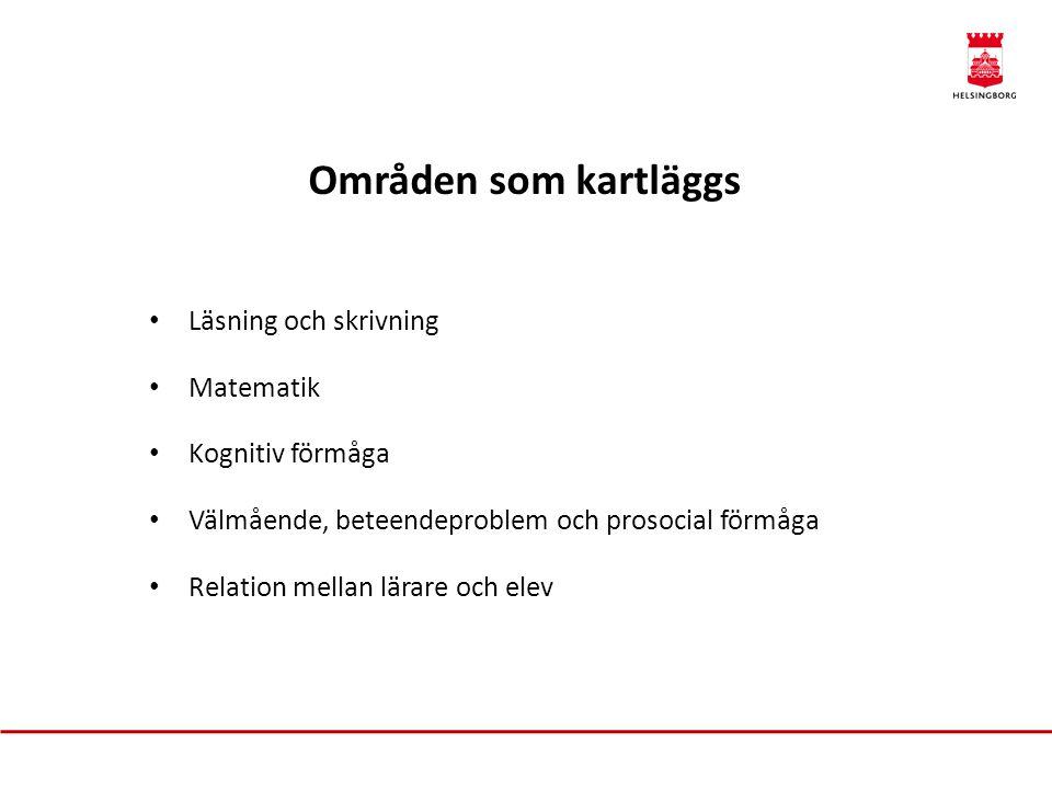 Psykologisk kartläggning Tester: • WISC (begåvningskartläggning) • ABAS (mätning av anpassningsfärdigheter i olika vardagsmiljöer) • Beck (bedömning av emotionell och social problematik) • SDQ (skattning av styrkor och svårigheter) • Relation mellan lärare och elev (känslomässigt/kunskapsmässigt)