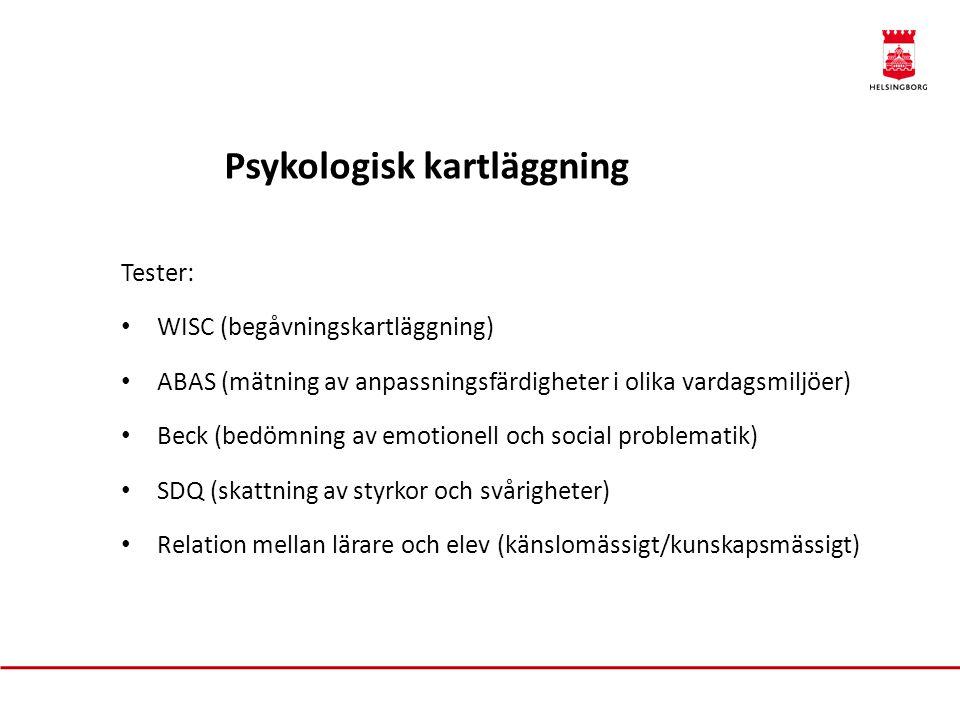 Psykologisk kartläggning Tester: • WISC (begåvningskartläggning) • ABAS (mätning av anpassningsfärdigheter i olika vardagsmiljöer) • Beck (bedömning a
