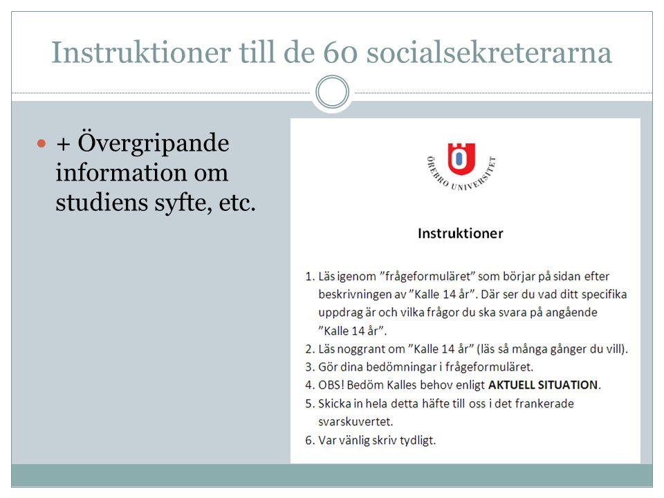 Instruktioner till de 60 socialsekreterarna  + Övergripande information om studiens syfte, etc.