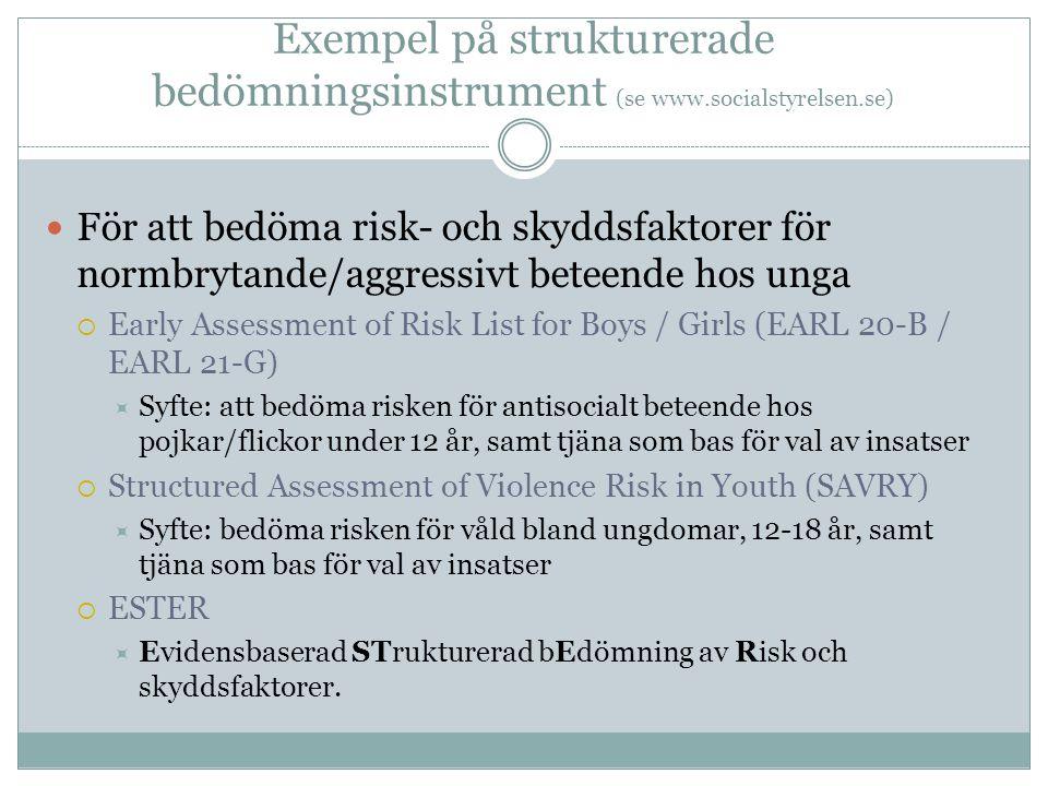 Exempel på strukturerade bedömningsinstrument (se www.socialstyrelsen.se)  För att bedöma risk- och skyddsfaktorer för normbrytande/aggressivt beteende hos unga  Early Assessment of Risk List for Boys / Girls (EARL 20-B / EARL 21-G)  Syfte: att bedöma risken för antisocialt beteende hos pojkar/flickor under 12 år, samt tjäna som bas för val av insatser  Structured Assessment of Violence Risk in Youth (SAVRY)  Syfte: bedöma risken för våld bland ungdomar, 12-18 år, samt tjäna som bas för val av insatser  ESTER  Evidensbaserad STrukturerad bEdömning av Risk och skyddsfaktorer.