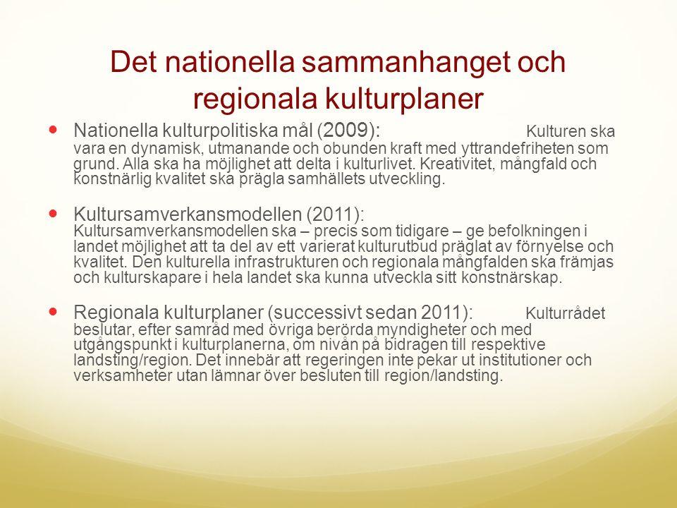 Det nationella sammanhanget och regionala kulturplaner  Nationella kulturpolitiska mål ( 2009): Kulturen ska vara en dynamisk, utmanande och obunden kraft med yttrandefriheten som grund.