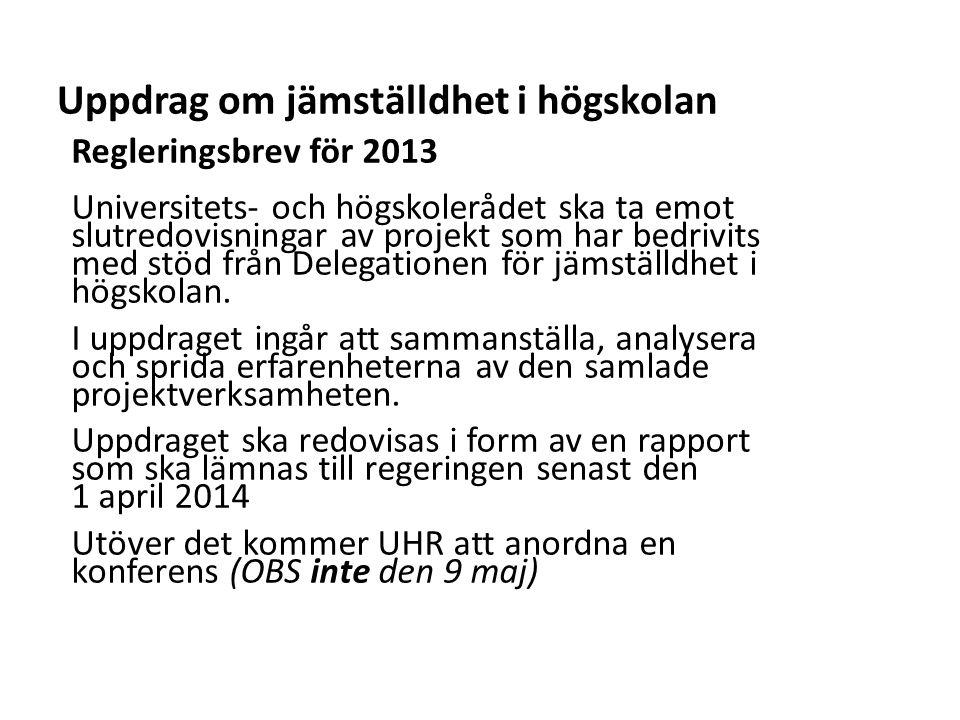 Sv Uppdrag om jämställdhet i högskolan Regleringsbrev för 2013 Universitets- och högskolerådet ska ta emot slutredovisningar av projekt som har bedrivits med stöd från Delegationen för jämställdhet i högskolan.