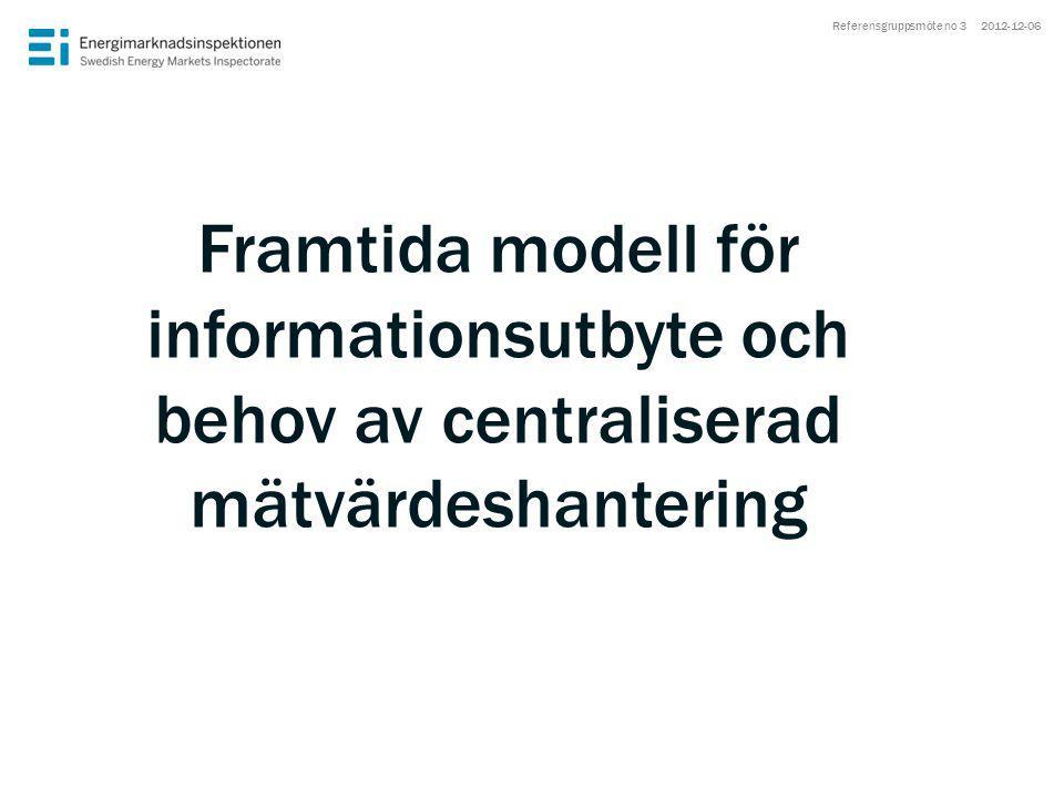 Framtida modell för informationsutbyte och behov av centraliserad mätvärdeshantering 2012-12-06Referensgruppsmöte no 3