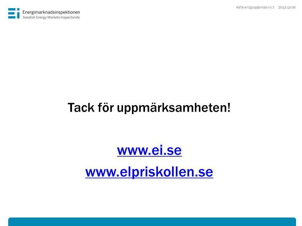 2012-12-06 Tack för uppmärksamheten! www.ei.se www.elpriskollen.se Referensgruppsmöte no 3