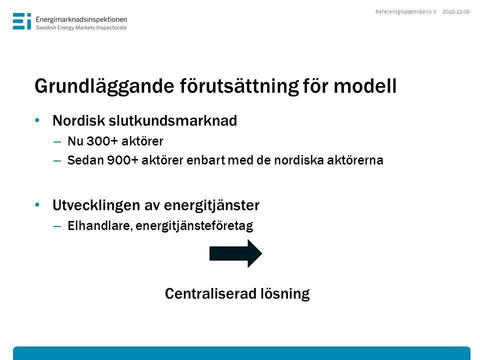 Grundläggande förutsättning för modell • Nordisk slutkundsmarknad – Nu 300+ aktörer – Sedan 900+ aktörer enbart med de nordiska aktörerna • Utvecklingen av energitjänster – Elhandlare, energitjänsteföretag Centraliserad lösning 2012-12-06Referensgruppsmöte no 3