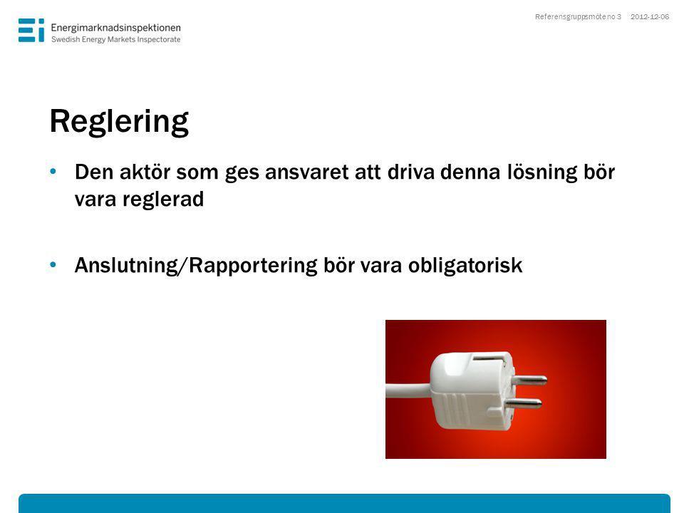Reglering • Den aktör som ges ansvaret att driva denna lösning bör vara reglerad • Anslutning/Rapportering bör vara obligatorisk 2012-12-06Referensgruppsmöte no 3
