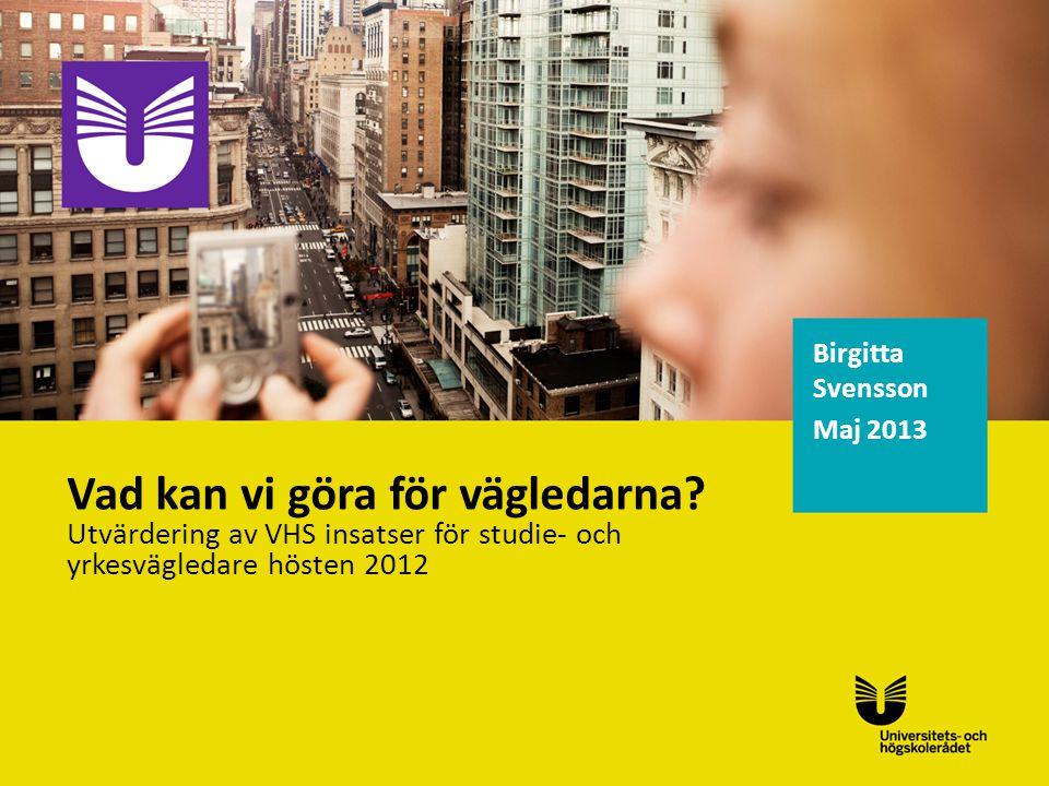 Birgitta Svensson Maj 2013 Vad kan vi göra för vägledarna.