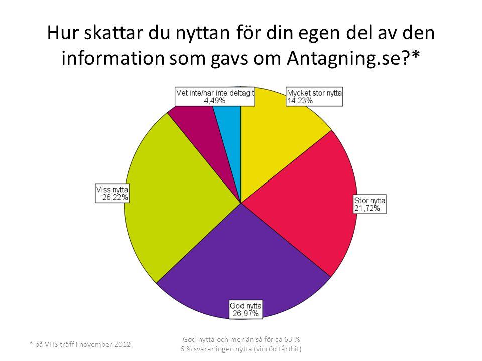 Hur skattar du nyttan för din egen del av den information som gavs om Antagning.se?* * på VHS träff i november 2012 God nytta och mer än så för ca 63 % 6 % svarar ingen nytta (vinröd tårtbit)