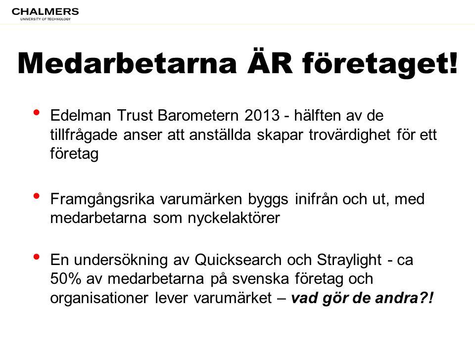 Medarbetarna ÄR företaget! • Edelman Trust Barometern 2013 - hälften av de tillfrågade anser att anställda skapar trovärdighet för ett företag • Framg