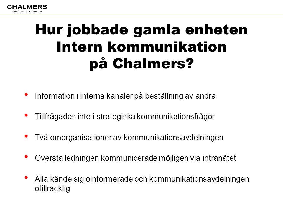 Hur jobbade gamla enheten Intern kommunikation på Chalmers? • Information i interna kanaler på beställning av andra • Tillfrågades inte i strategiska
