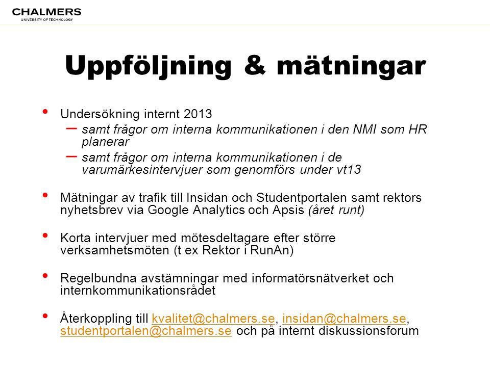Uppföljning & mätningar • Undersökning internt 2013 – samt frågor om interna kommunikationen i den NMI som HR planerar – samt frågor om interna kommun