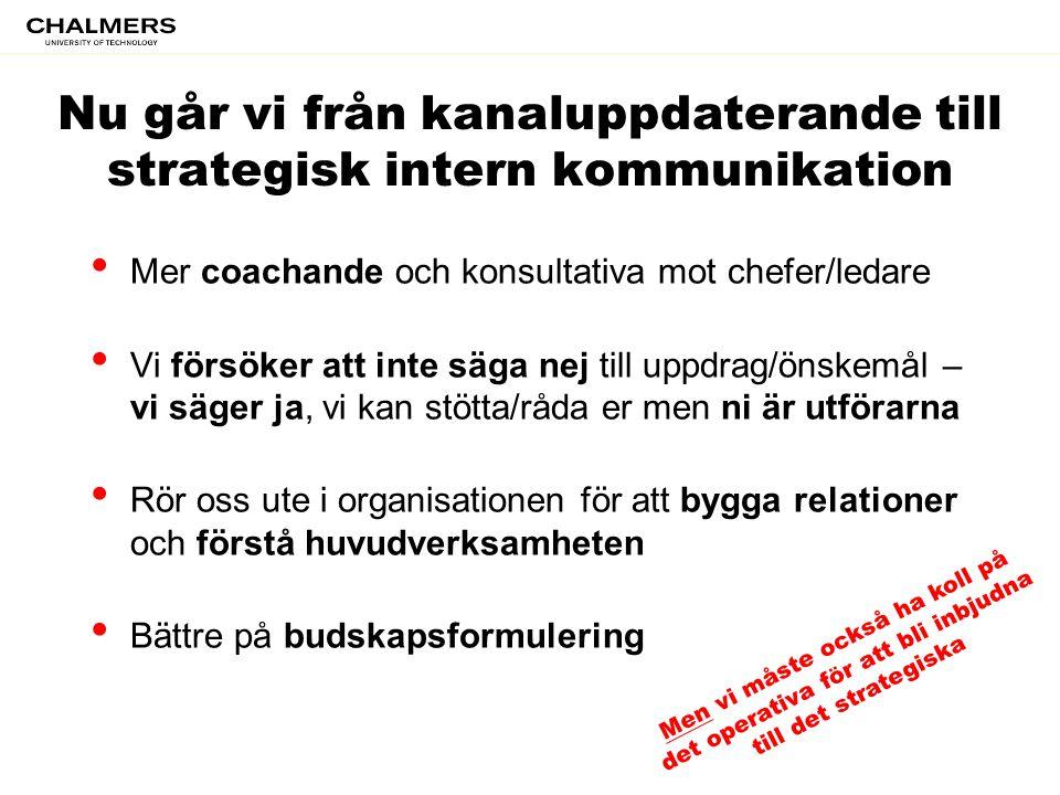 Nu går vi från kanaluppdaterande till strategisk intern kommunikation • Mer coachande och konsultativa mot chefer/ledare • Vi försöker att inte säga n