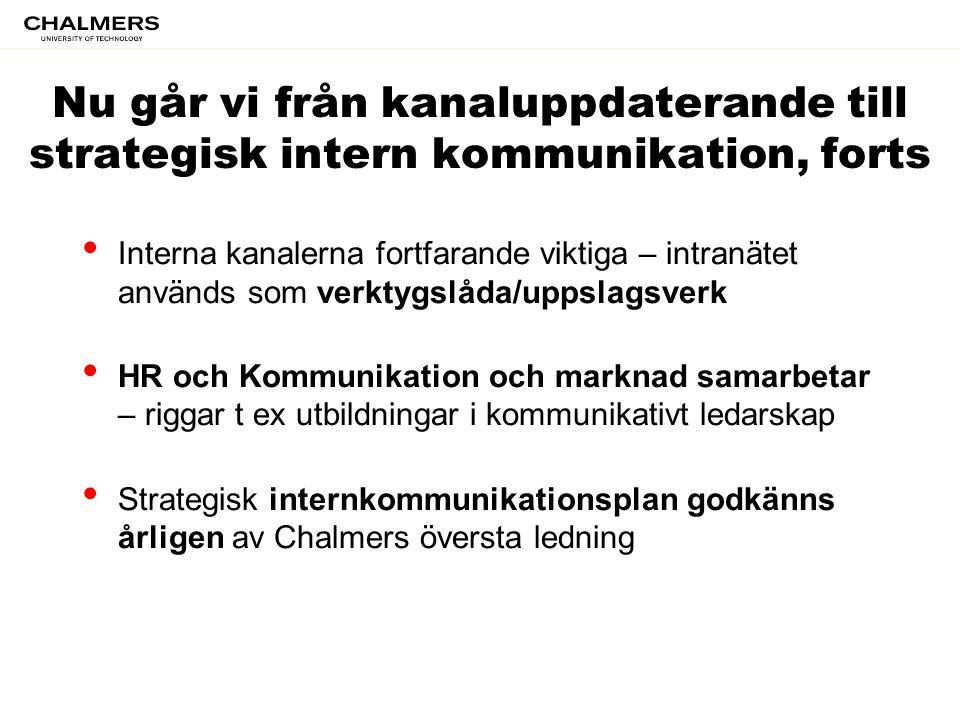 • Interna kanalerna fortfarande viktiga – intranätet används som verktygslåda/uppslagsverk • HR och Kommunikation och marknad samarbetar – riggar t ex
