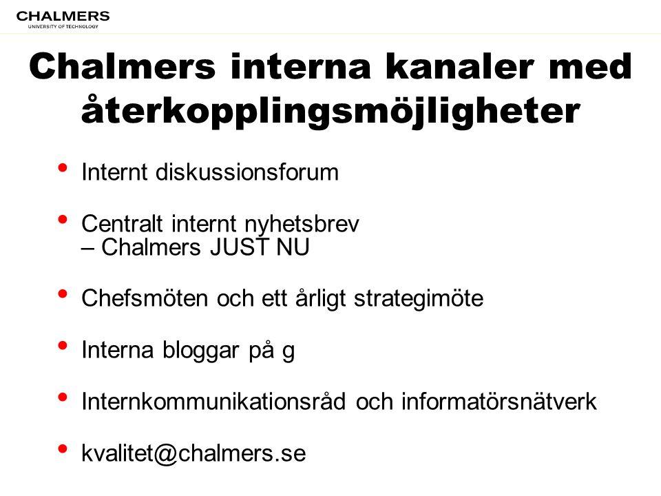 Chalmers interna kanaler med återkopplingsmöjligheter • Internt diskussionsforum • Centralt internt nyhetsbrev – Chalmers JUST NU • Chefsmöten och ett