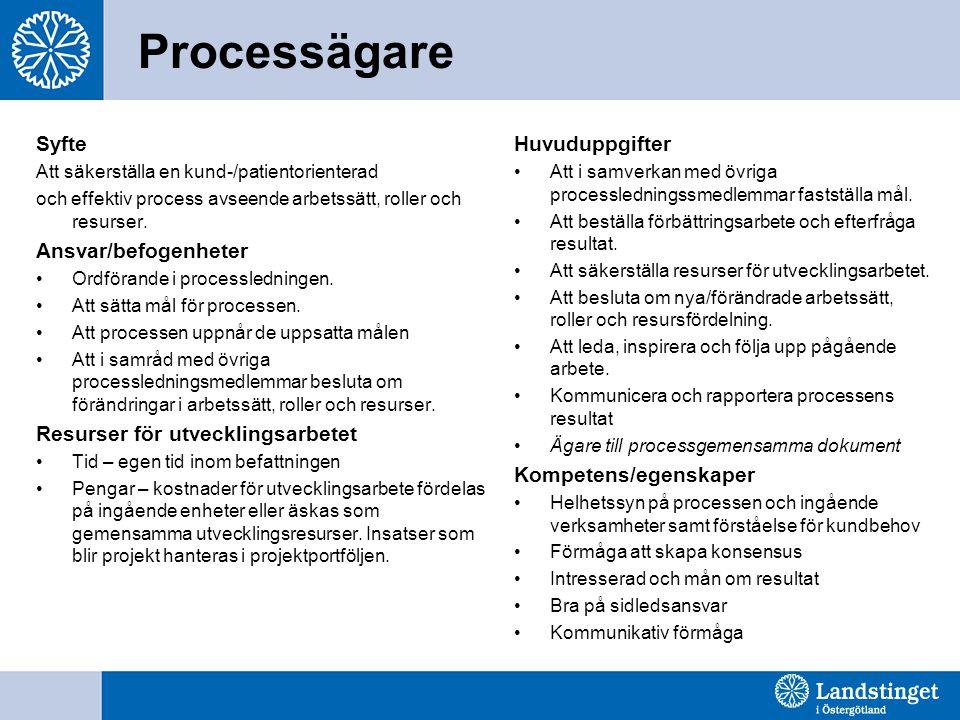 Processägare Syfte Att säkerställa en kund-/patientorienterad och effektiv process avseende arbetssätt, roller och resurser. Ansvar/befogenheter •Ordf