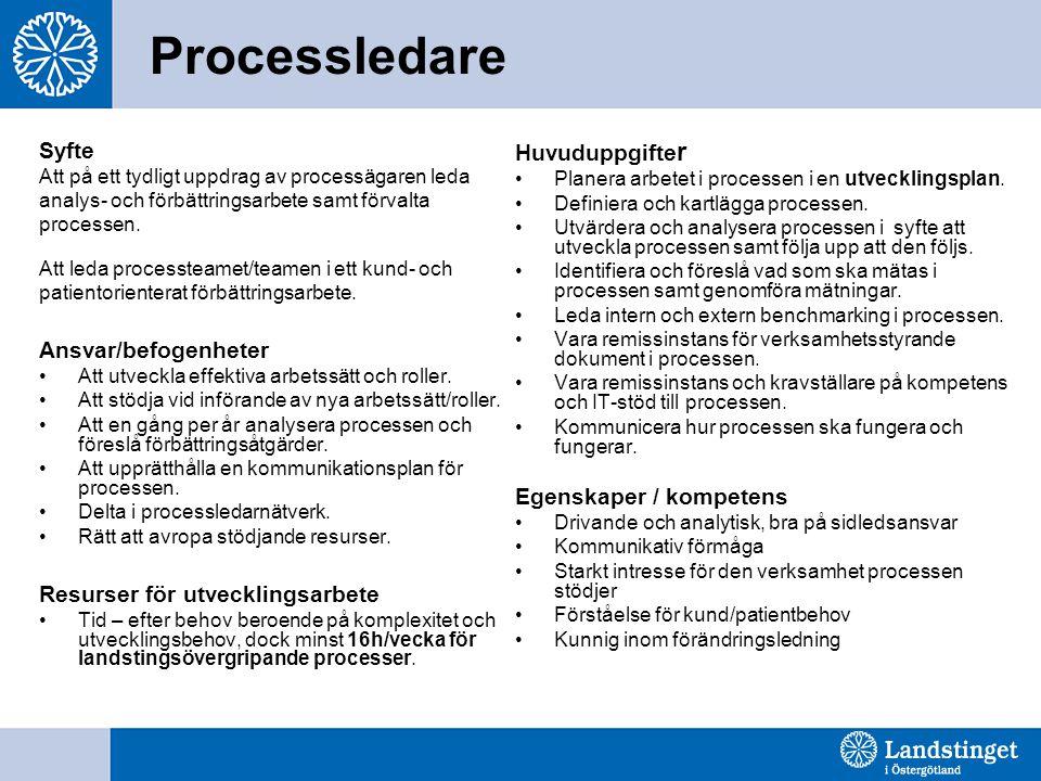 Processledare Syfte Att på ett tydligt uppdrag av processägaren leda analys- och förbättringsarbete samt förvalta processen. Att leda processteamet/te